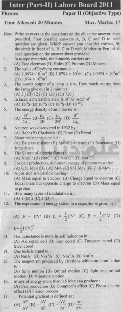physics past papers intermediate 2 lahore board Past papers of inter part 1 lahore board past papers of physics intermediate part 1 1- past papers of physics inter part 1 lahore board 2013 group i 2- past papers of.
