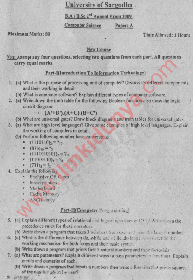 Ba  Bsc Computer Science Paper A Sargodha University 2009