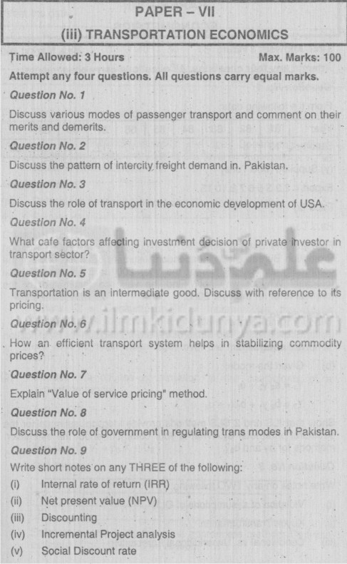 MA Economics Part II Transportation Economics Paper VII PU 2003