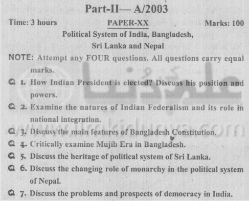 MA Political Science Part II Political System of India