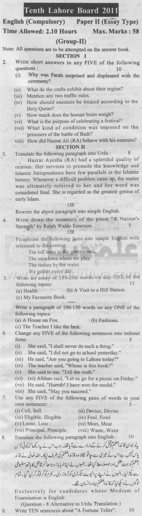 th class english compulsory essay type group ii lahore board