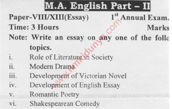ma english part  past papers  sargodha university essay paper   ma english part  past papers  sargodha university essay paper  to   st annual exam