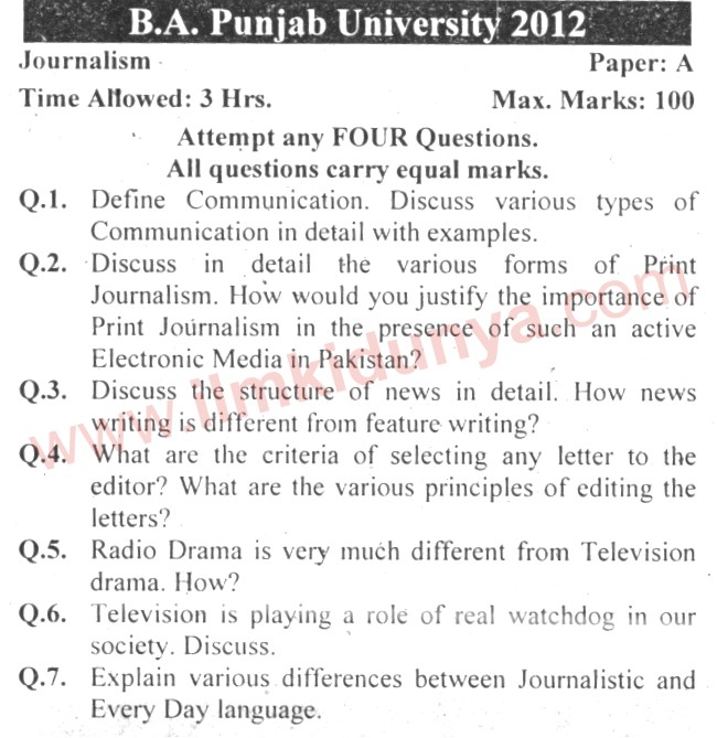 past papers punjab university ba journalism paper a english type