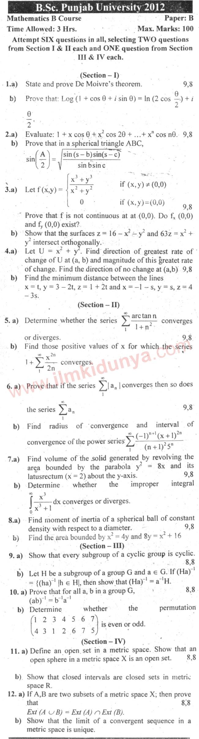 Past Papers 2012 Punjab University BSc Mathematics B ...