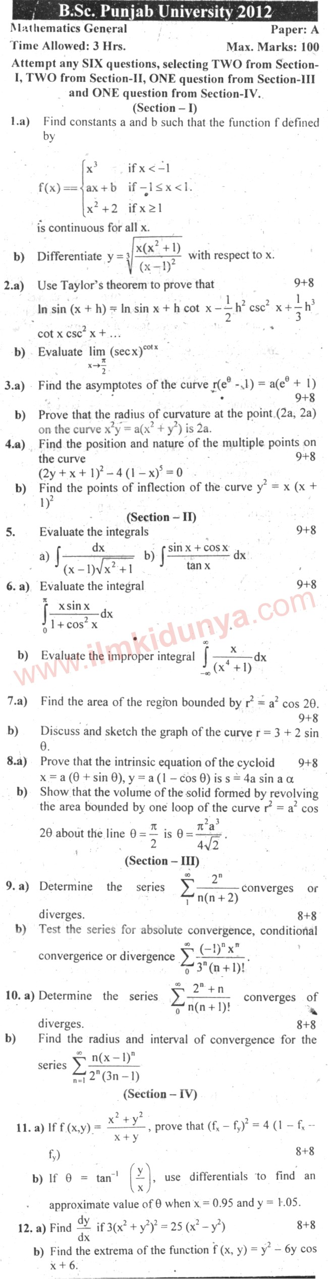 Past Papers 2012 Punjab University BSc Mathematics General Paper A