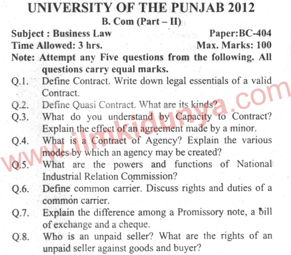 business law past paper 2013 punjab university Punjab university bcom part 1 past papers of analysis of past (5) five year papers of punjab business law b com part 2 papers was from.