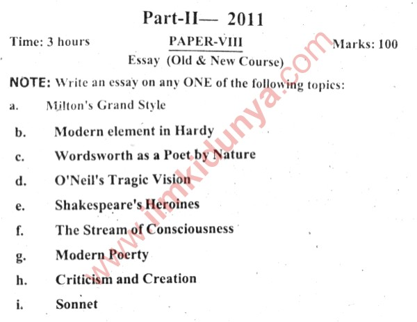 Past Papers  Punjab University Ma English Essay