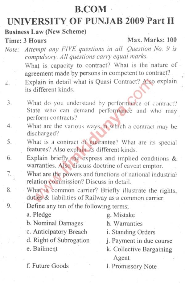 business law paper 2014 punjab university