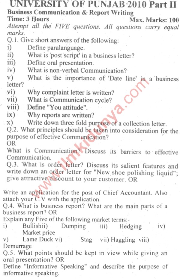 business communication and report writing notes What is business communication communication is effective can be judged on the basis of the intended obligatory for an executive to learn the art of writing.