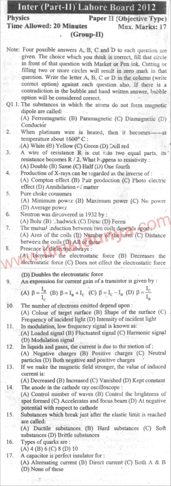 intermediate past papers 2012 Postal test papers_p8_intermediate_syllabus 2012  source 2 does not give any assurance but on the basis of past experience of supplies received from it.