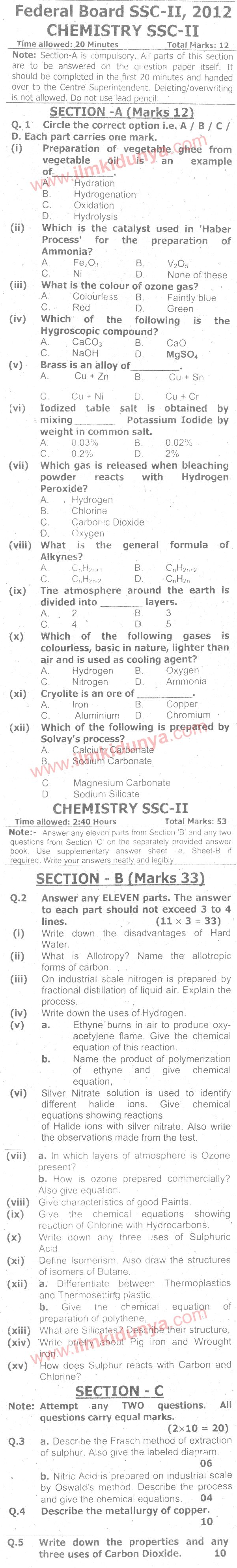 9th class chemistry paper 2013 federal board