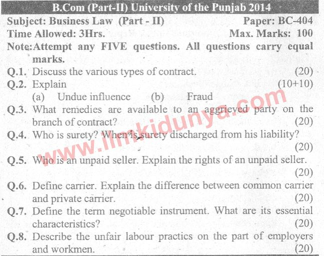 business law paper 2014 punjab university The university of the punjab was formally past paper old paper punjab university bcom business statistics paper of ma english part1 2014 and.