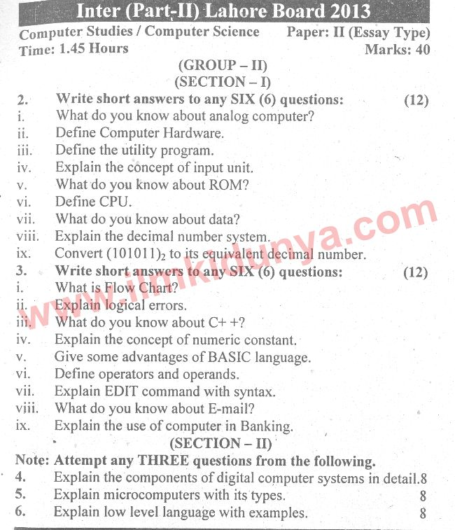 past papers lahore board icom part computer studies essay past papers 2013 lahore board icom part 2 computer studies essay group 2