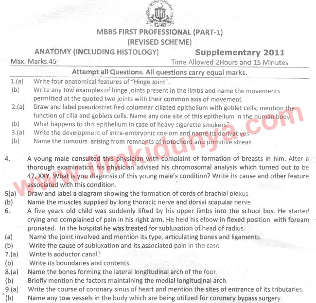 Uhs Past Papers Mbbs Part 1 Anatomy 2011 Supplementary