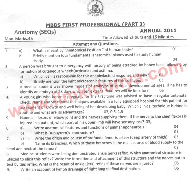 Uhs Past Papers Mbbs Part 1 Anatomy 2011