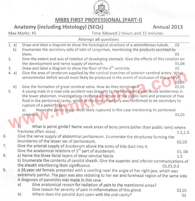 UHS Past Papers MBBS Part 1 Anatomy 2013