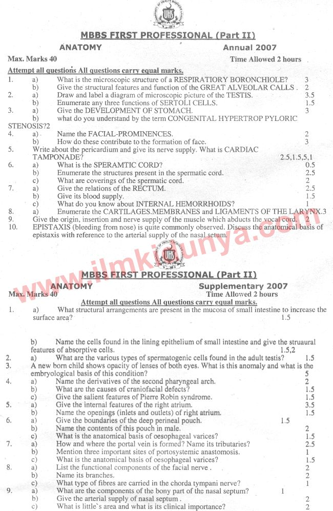 UHS Past Papers MBBS Part 2 Anatomy 2007