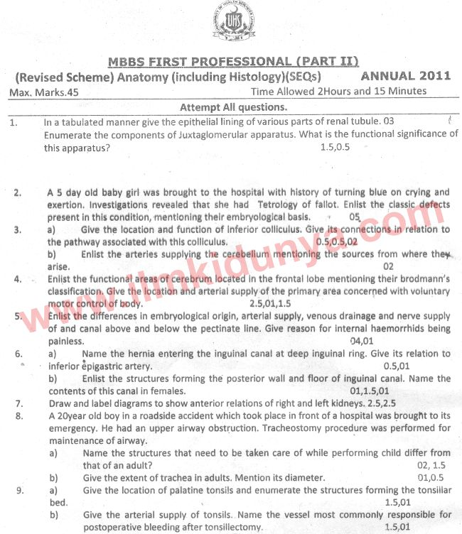 Uhs Past Papers Mbbs Part 2 Anatomy 2011