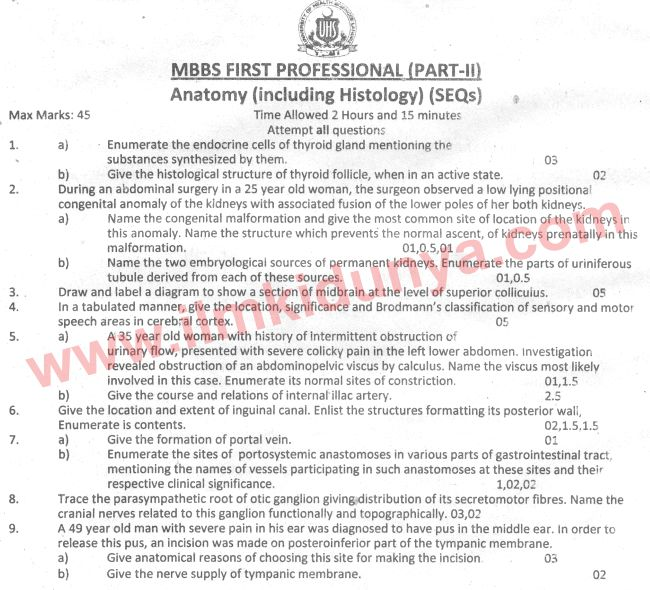 Uhs Past Papers Mbbs Part 2 Anatomy 2012