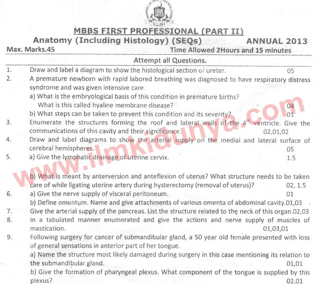 Uhs Past Papers Mbbs Part 2 Anatomy 2013
