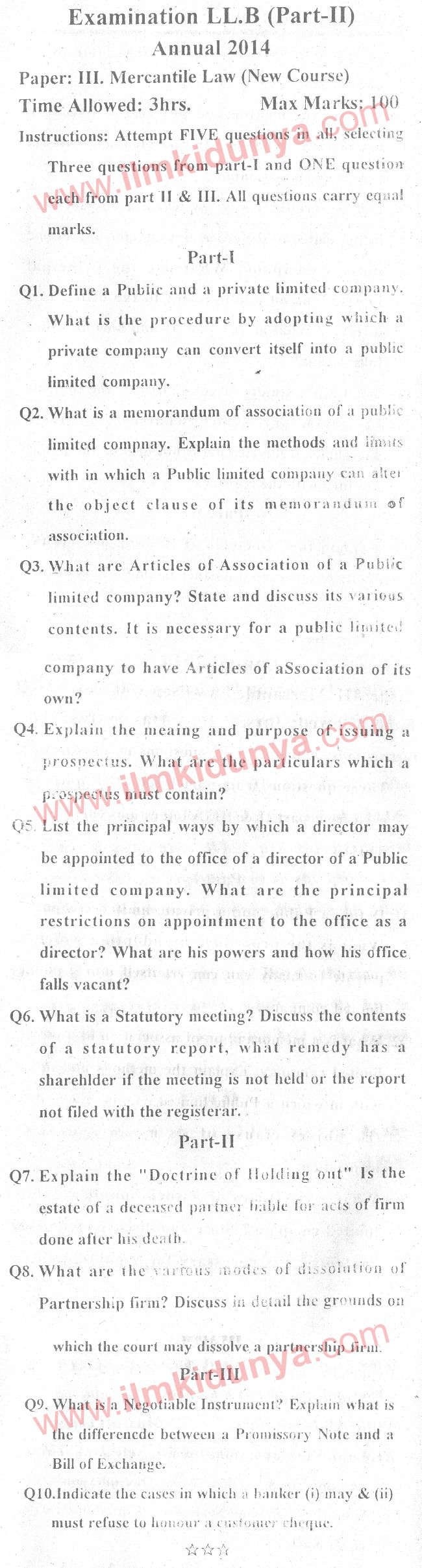 past papers 2014 llb part 2 mercantile company law paper 3 new course rh ilmkidunya com Custom Law Law of Jersey