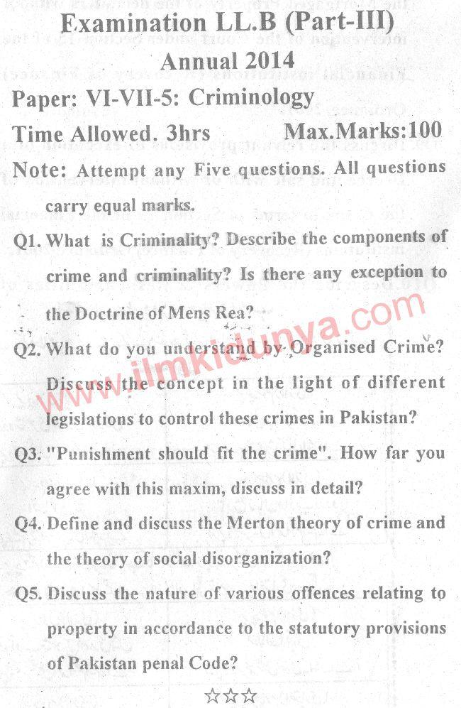 Past Papers 2014 LLB Part 3 Criminology