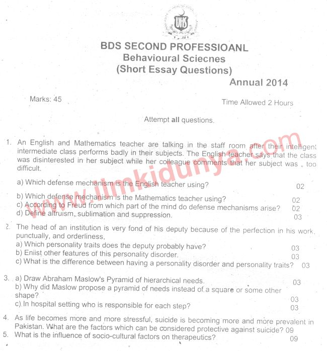 Uhs Past Papers  Bds Behavioural Sciences Essay Questions