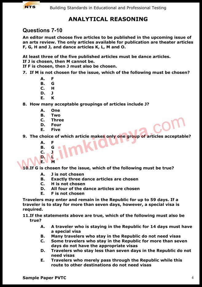 Nts sample past papers junior clerk analytical reasoning.