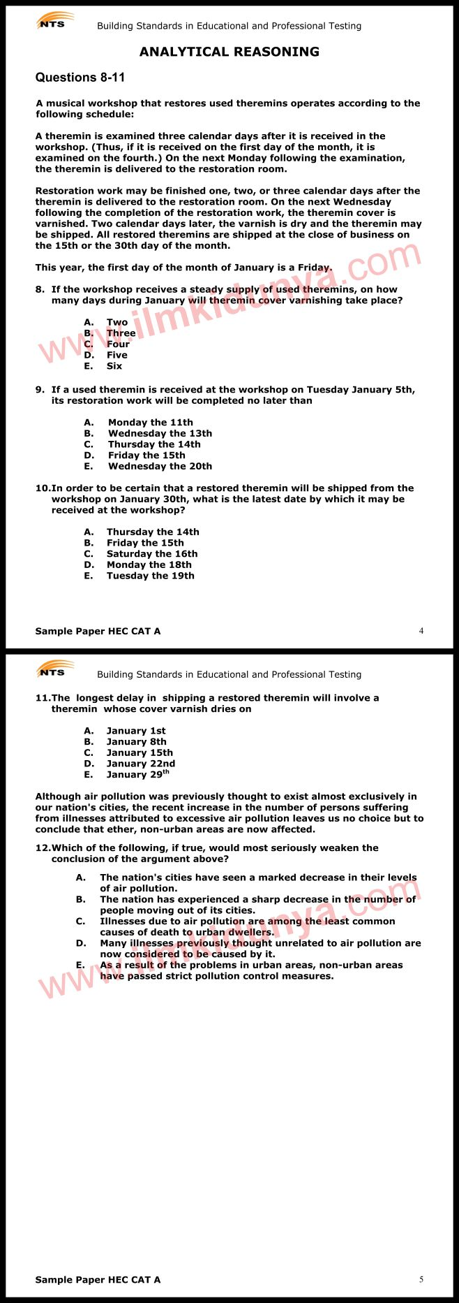 N. T. S. E reasoning sample question paper 2 2015 pdf free download.