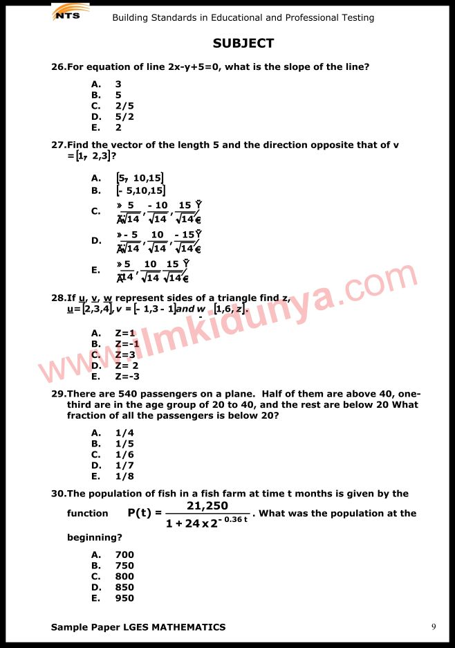 NTS Sample Past Papers Teacher Mathematics Subject