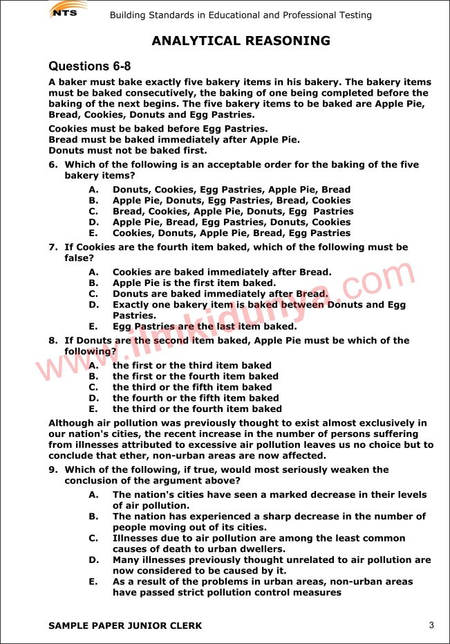 Nts sample past papers human resource department analytical reasoning.