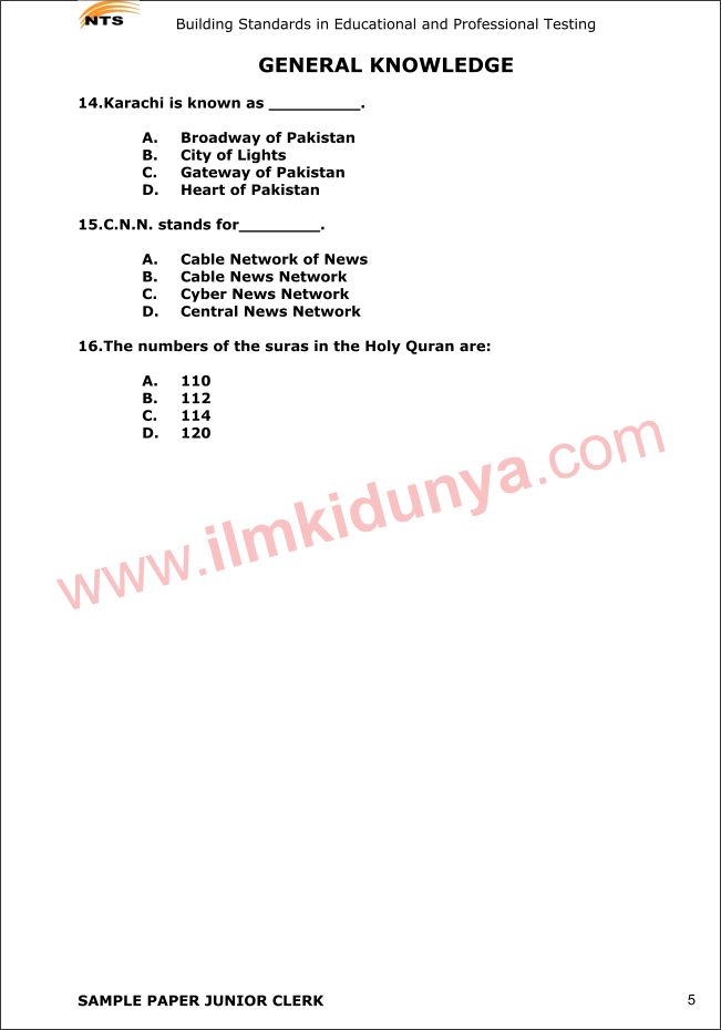 NTS Sample Past Papers Miscellaneous Junior Clerk General