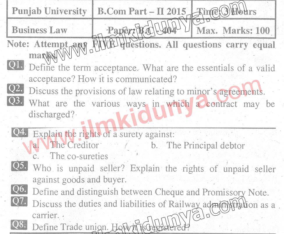 business law paper 2013 punjab university Punjabi university previous years question  2007 question paper bcom business law punjabi university 2007  university previous years question papers.