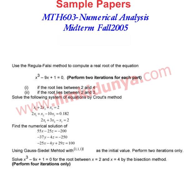 mth603 final term paper 2015