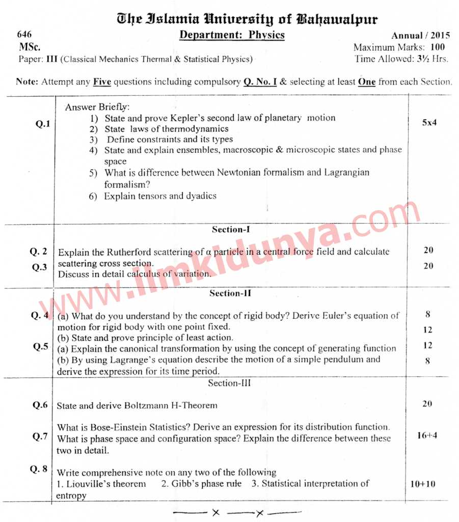 Past Papers 2015 Islamia University Bahawalpur MSc Classical