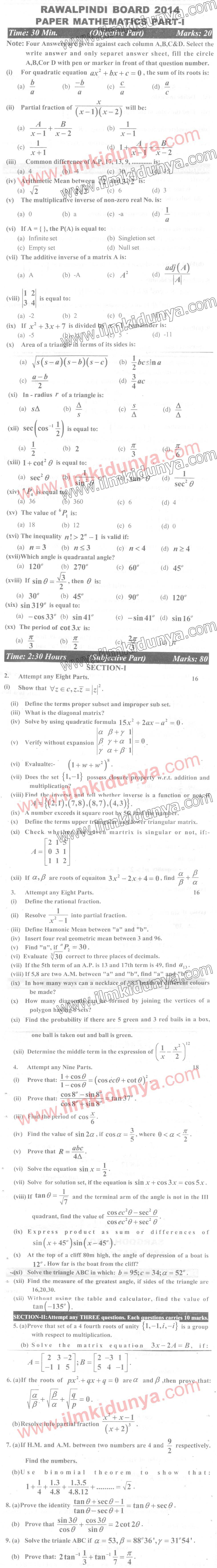 Past papers intermediate part 2 rawalpindi board