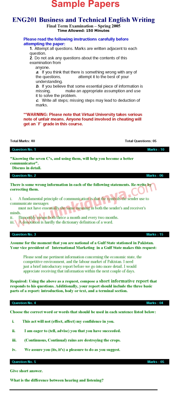 Final Term Papers Virtual University first time stayed