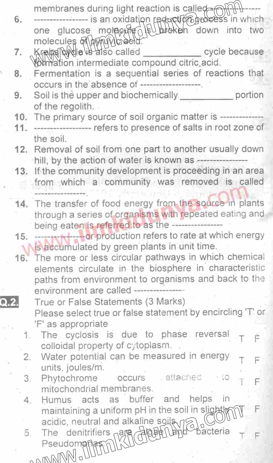 Past Papers 2017 Punjab University BSc Part 2 Botany physiology