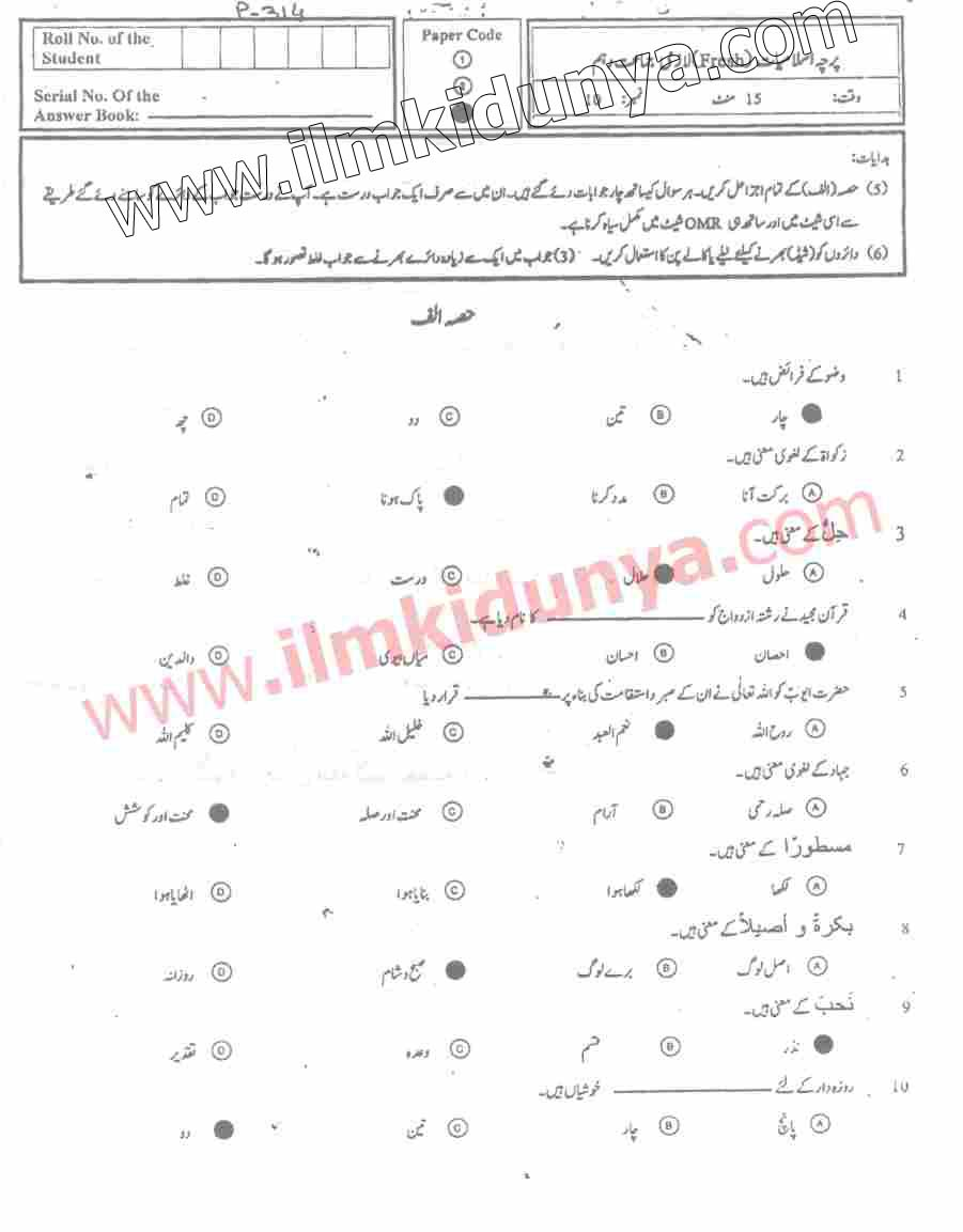 Past Papers 2017 Swat Board 10th Class Islamiat English Version