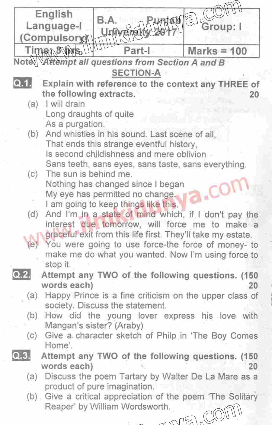 b a past paper Shayan hameed 28 / apr / 2018 yaha pr koi jawab hi nai detaor past paperr 2017 add krienba english literature k past paper b add krein please.