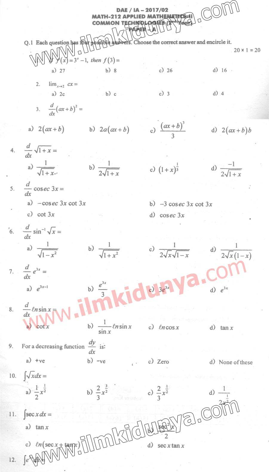 DAE IA 2017 Past Papers Civil 2nd Year Applied Mathematics Part A ...