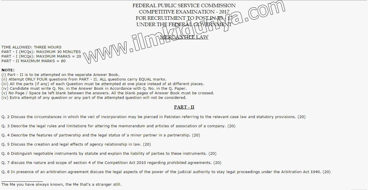 mercantile law paper css past paper 2017 rh ilmkidunya com Chinese Law Law Group