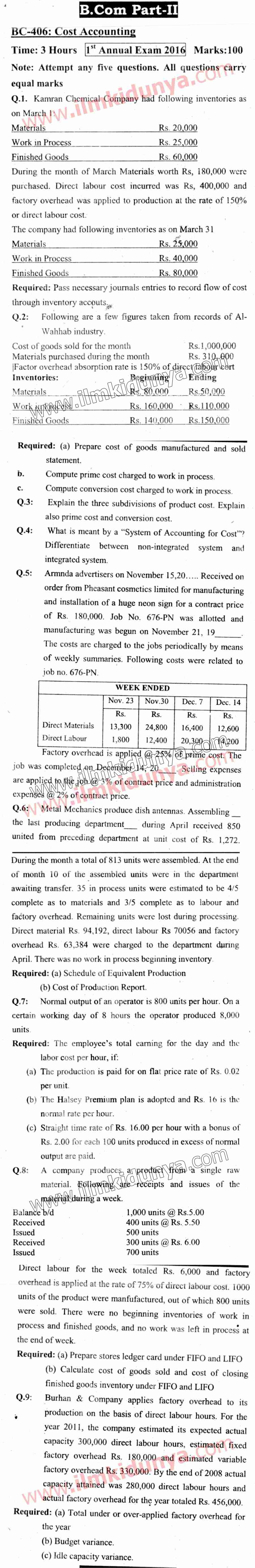 Past Papers Sargodha University 2016 BCom Part 2 Cost Accounting
