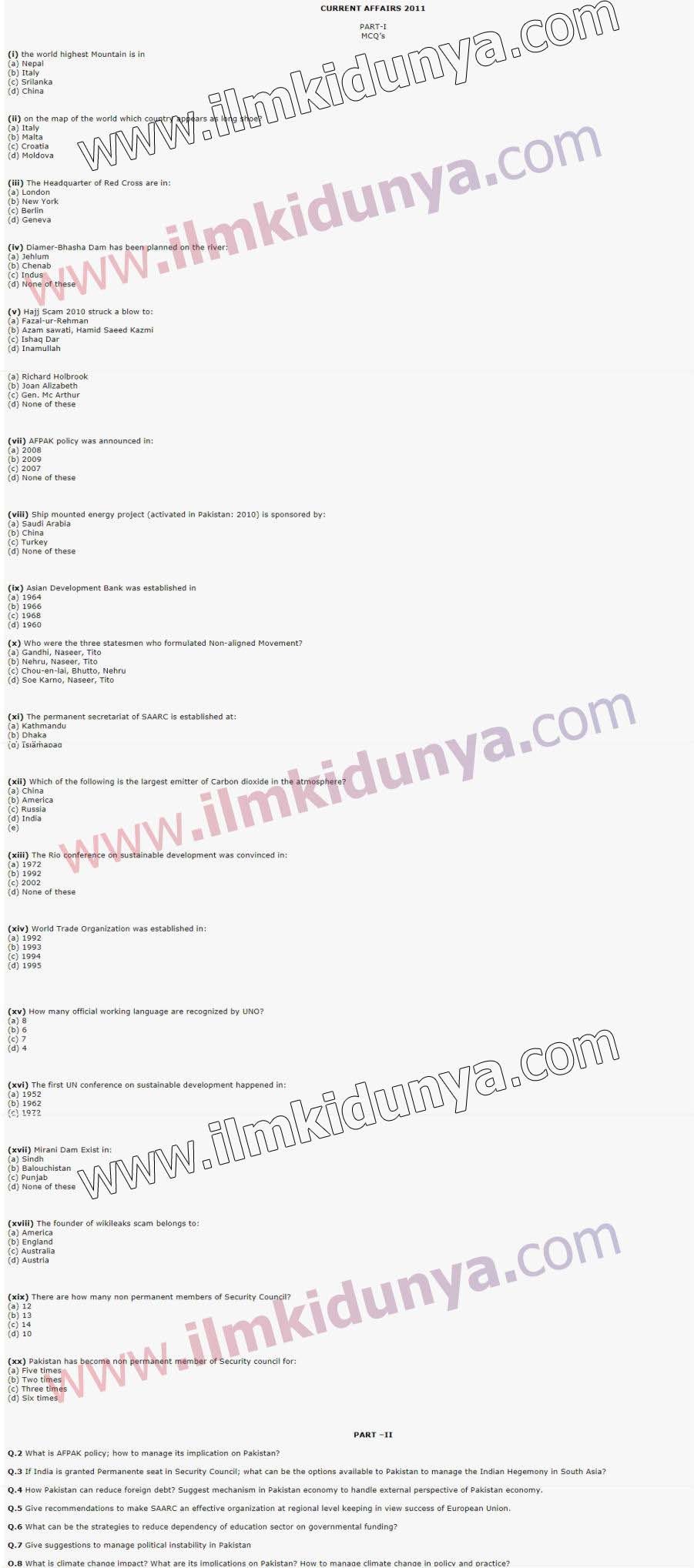 Css past papers 2011 current affairs paper 1 gumiabroncs Image collections