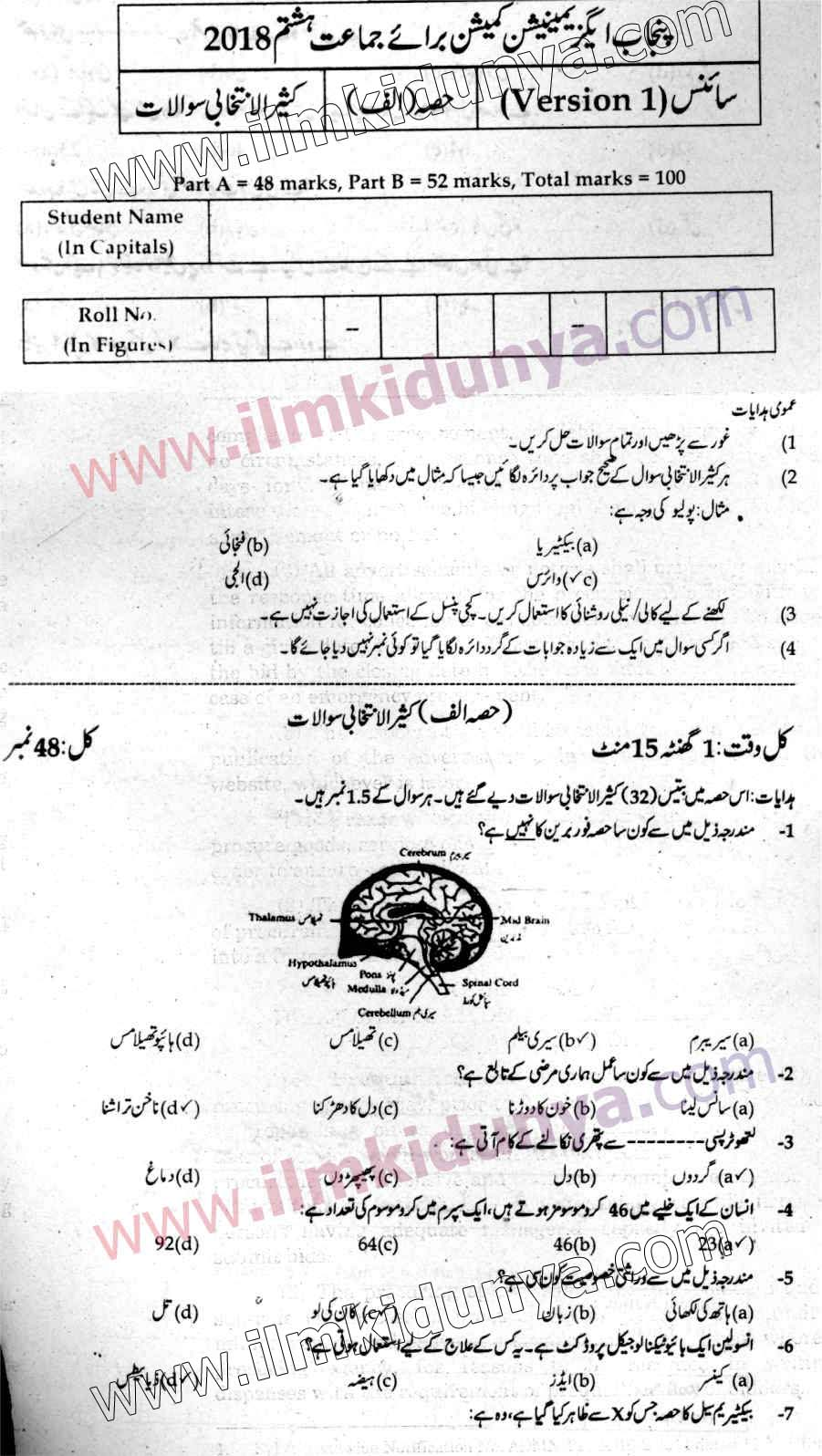 Punjab Examination Commission PEC 8th Class Past Paper 2018