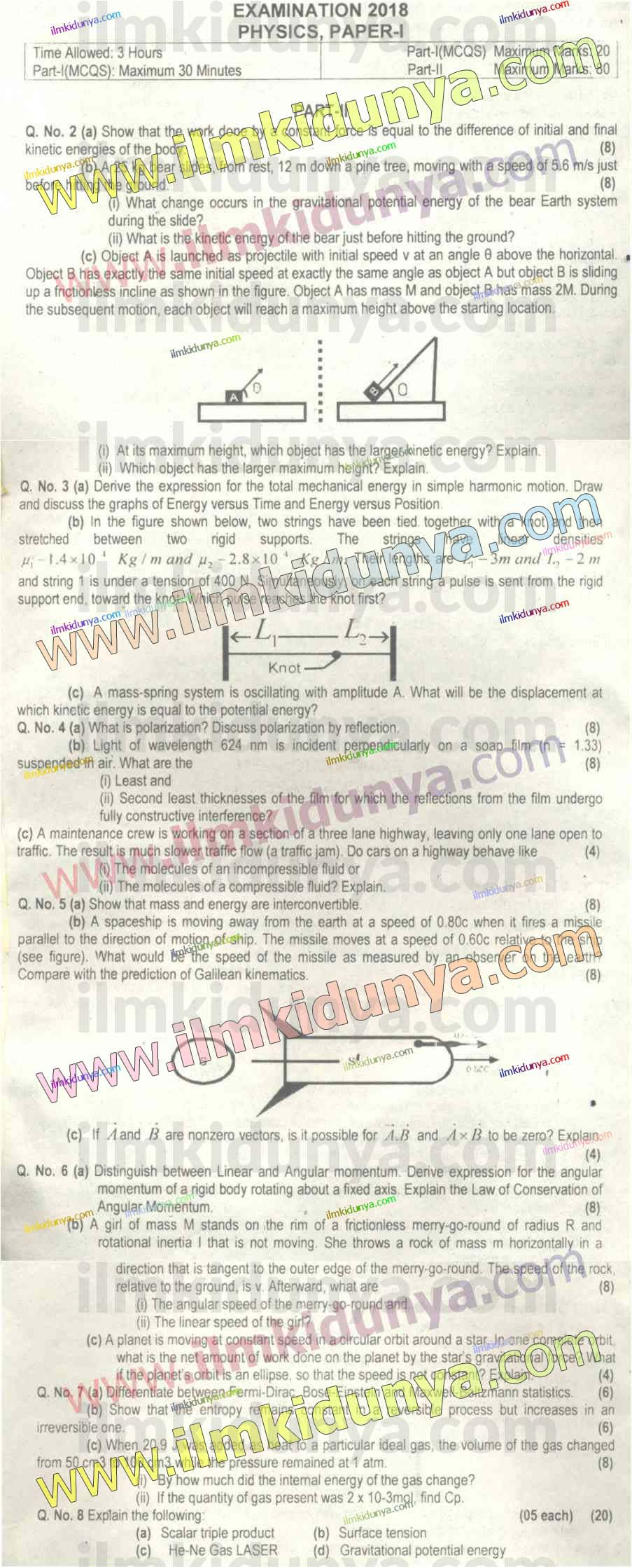 CSS Past Papers 2018 Physics Paper 1